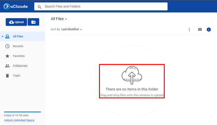 Giao diện uCloude trông quen thuộc với người dùng. Kéo thả file vào vùng trống để tiến hành upload