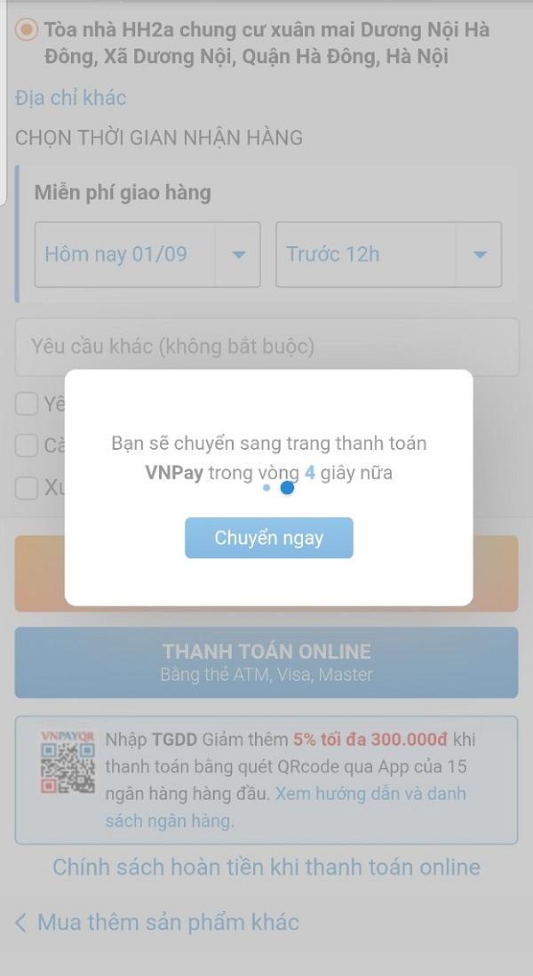 Hướng dẫn mua hàng thanh toán bằng VNPAYQR tiện lợi tại TGDĐ
