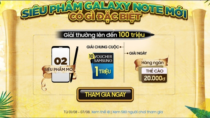 Minigame Galaxy note 10