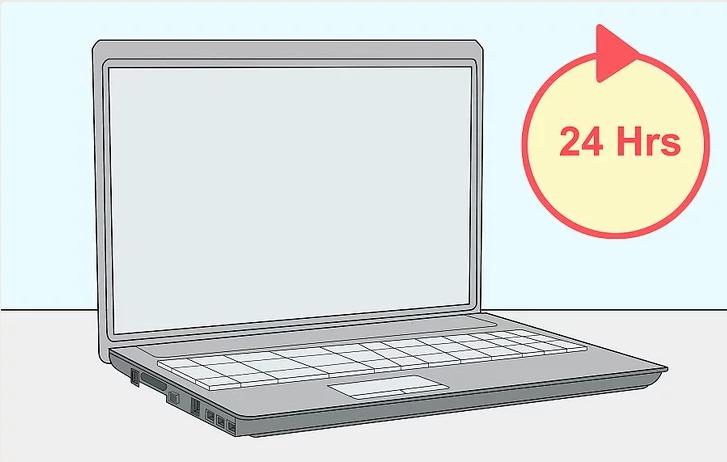 Để khô laptop ít nhất 24h