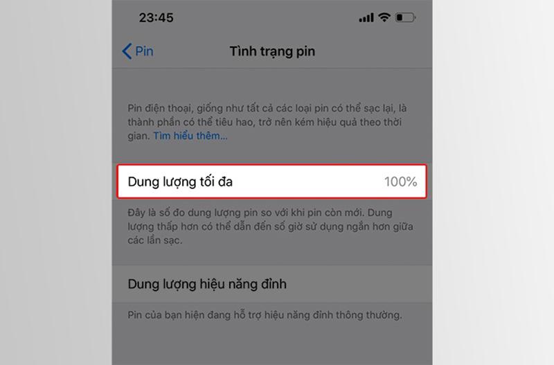 Kiểm tra Pin iPhone