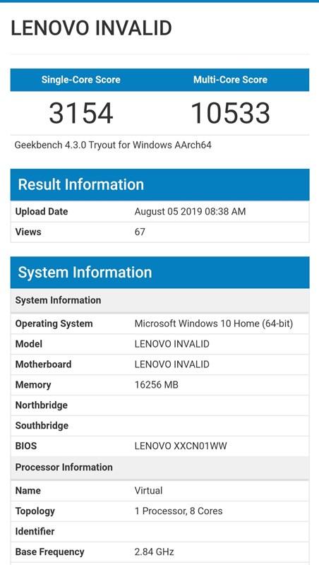 Laptop Lenovo bí ẩn dùng chip Snapdragon 8cx xuất hiện trên GeekBench