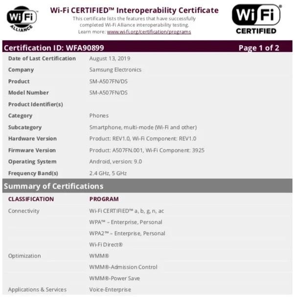 Sau Galaxy A30s, đến lượt Galaxy A50s đạt chứng nhận Wi-Fi - ảnh 2