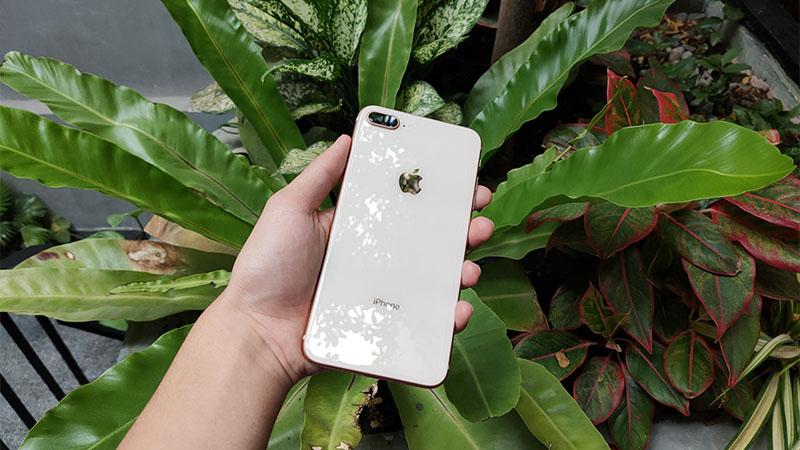 Mặt lung kính của iPhone 8 plus bóng bẩy, sang trọng