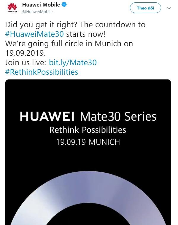 Huawei Mate 30 chính thức được ấn định ngày ra mắt, không phải tại IFA 2019