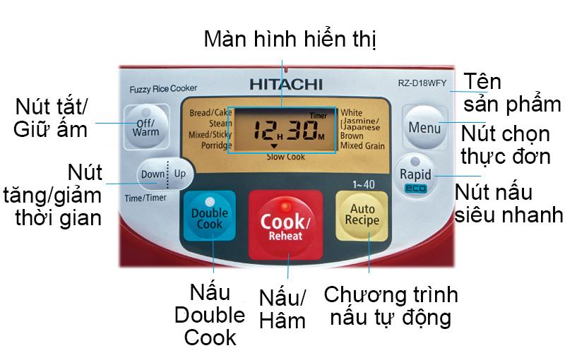 Nồi cơm điện tử Hitachi 1.8 lít RZ-D18WFY (RE) có bảng điều khiển dễ sử dụng