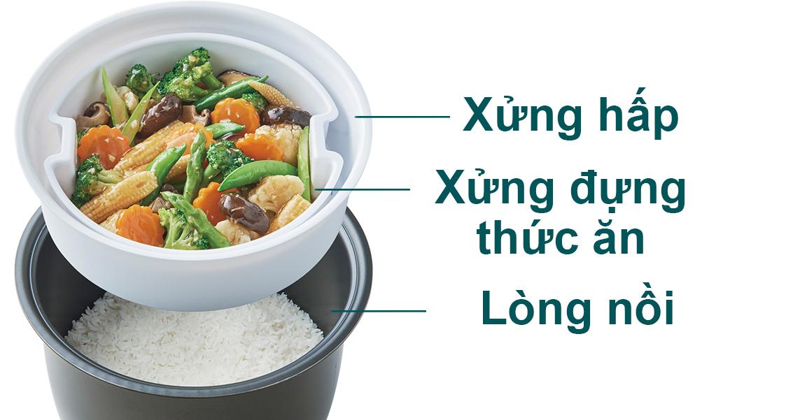 Chế độ nấu double cook của nồi cơm điện tử Hitachi 1.8 lít RZ-D18WFY (RE) có 2 xửng giúp nấu chín đều