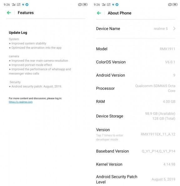 Realme 5 nhận được bản cập nhật phần mềm đầu tiên