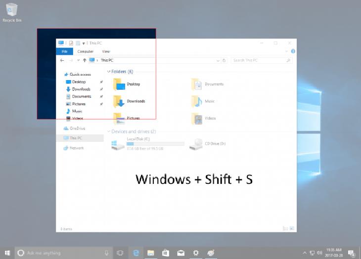 Dùng tổ hợp phím Windows + shift-S