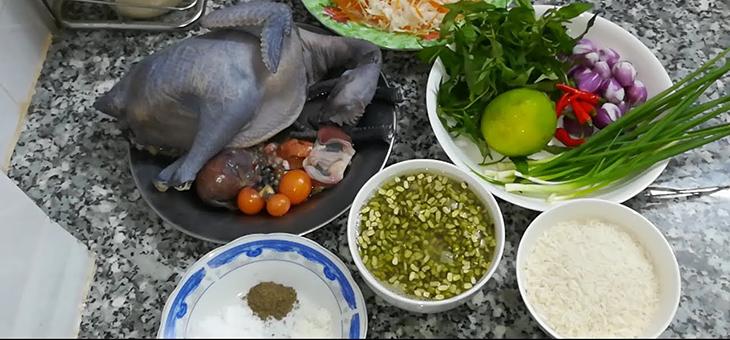 nguyên liệu nấu cháo gà ác đậu xanh