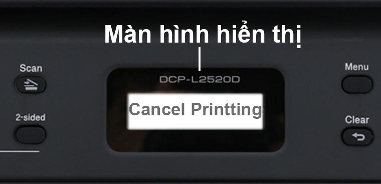 Màn hình báo lỗi Cancel Printting