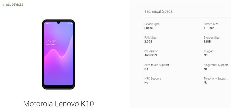 Lenovo K10 lộ cấu hình và ảnh render trên Android Enterprise - ảnh 2