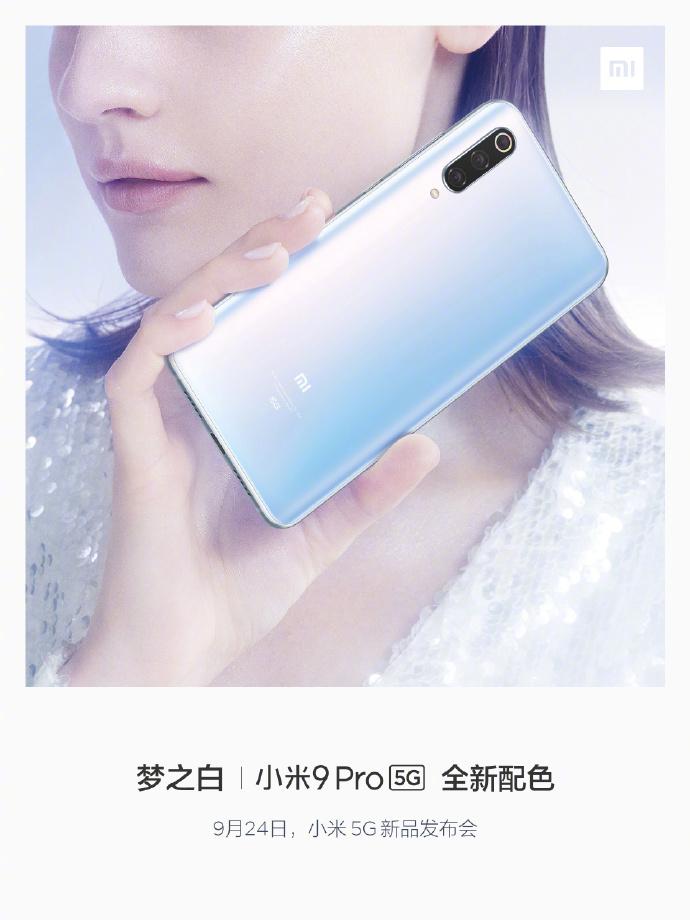 Xiaomi Mi 9 Pro 5G màu trắng xuất hiện trong poster chính thức