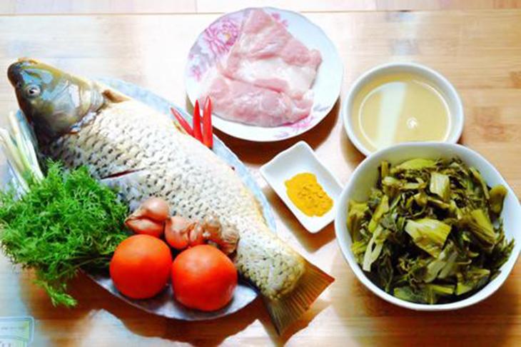 nguyên liệu nấu cá chép om dưa