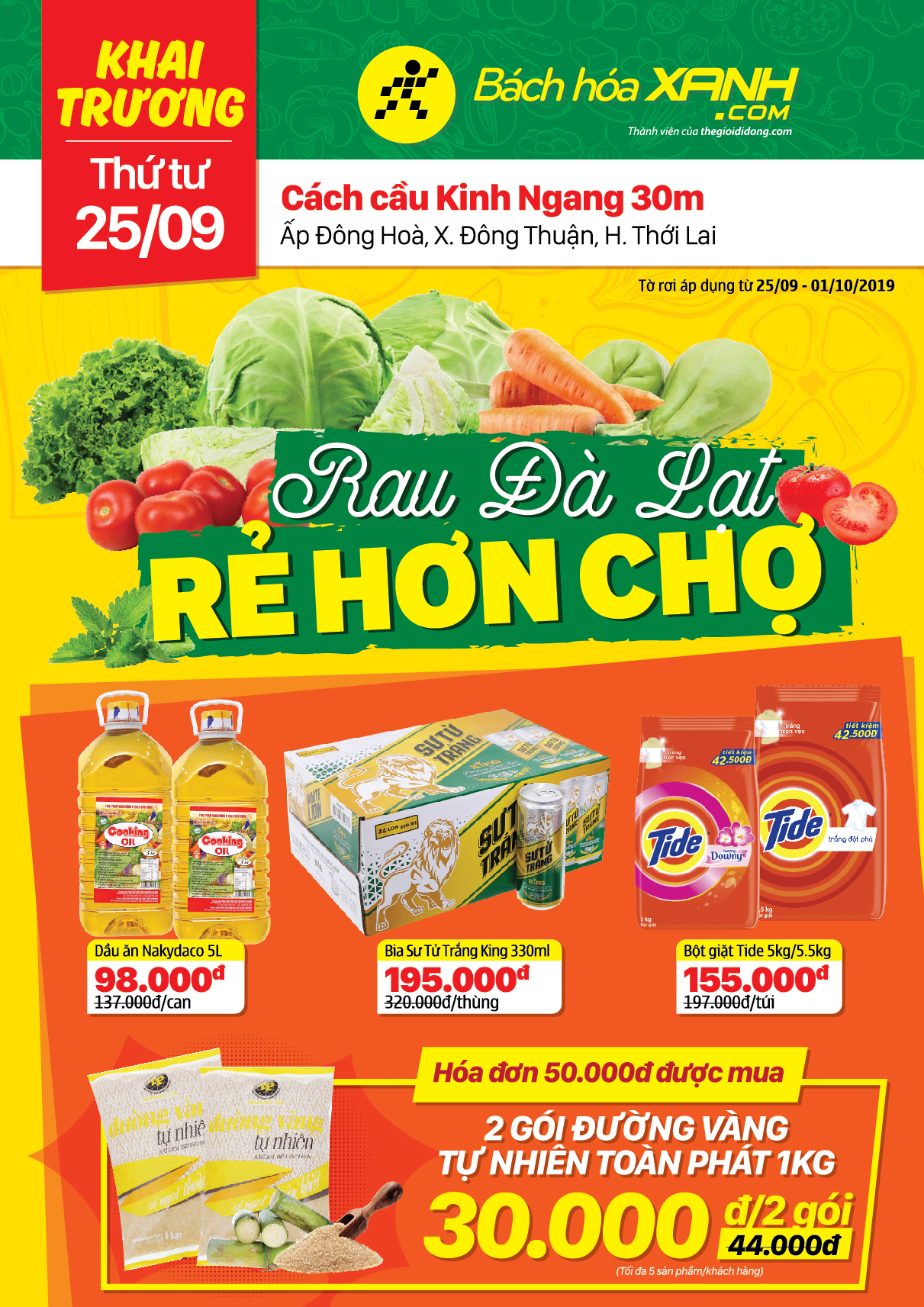 Cửa hàng Bách hoá XANH Ấp Đông Hòa, Đông Thuận khai trương 25/9/2019