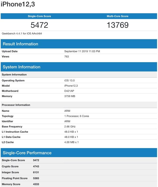 iPhone 11 Pro đạt được điểm hiệu năng rất tốt trên Geekbench