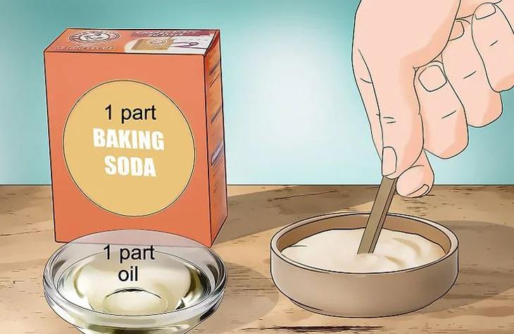 Trộn bột soda với dầu