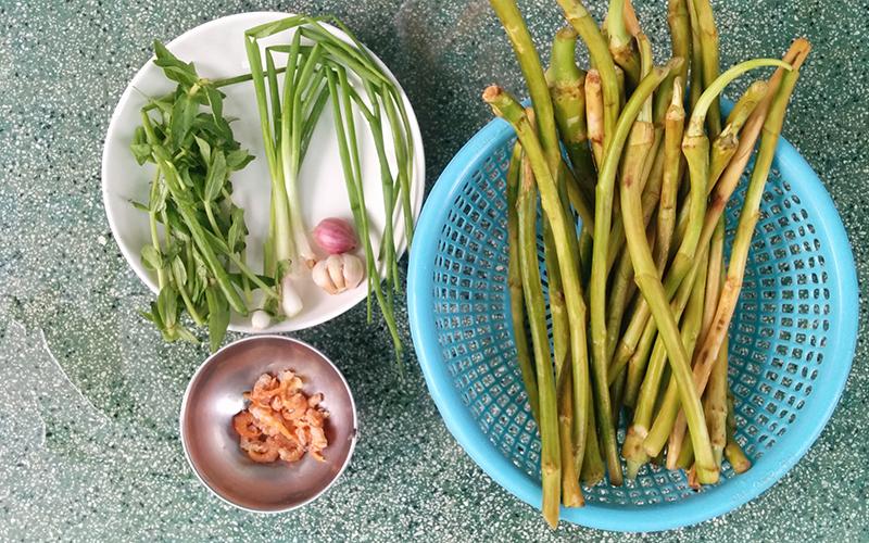 Canh bồng khoai nấu tôm khô đậm đà thơm ngon
