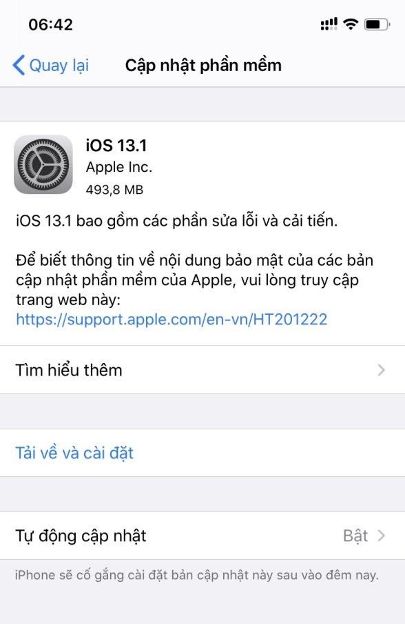 Apple tung bản cập nhật iOS 13.1 cho iPhone, tăng hiệu năng và ổn định hơn