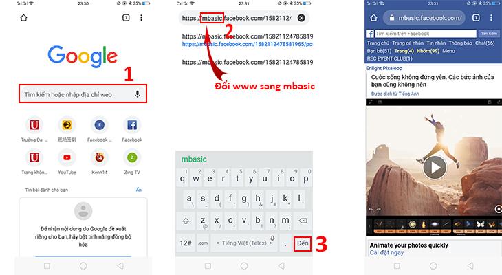Vào Google > Dán link vào thanh tìm kiếm > Thay đổi tên miền từ WWW sang MBASIC > Đến