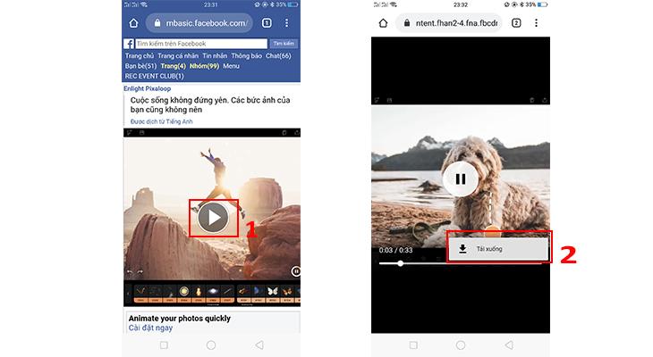 Hiện thị Tab mới > Phát video > Chuyển sang tab mới > Chọn dấu 3 chấm cuối video > Tải xuống