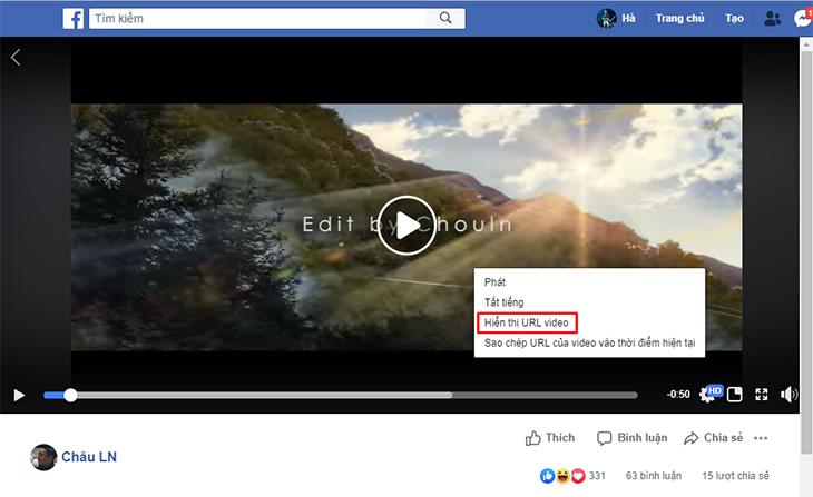 Chọn vào video bạn muốn tải > Kích chuột phải vào video > Chọn Hiển thị URL video