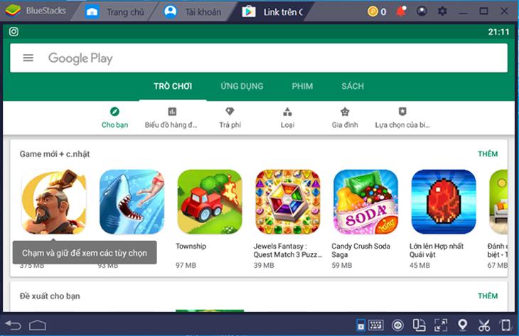 Google Play Store trên BlueStack