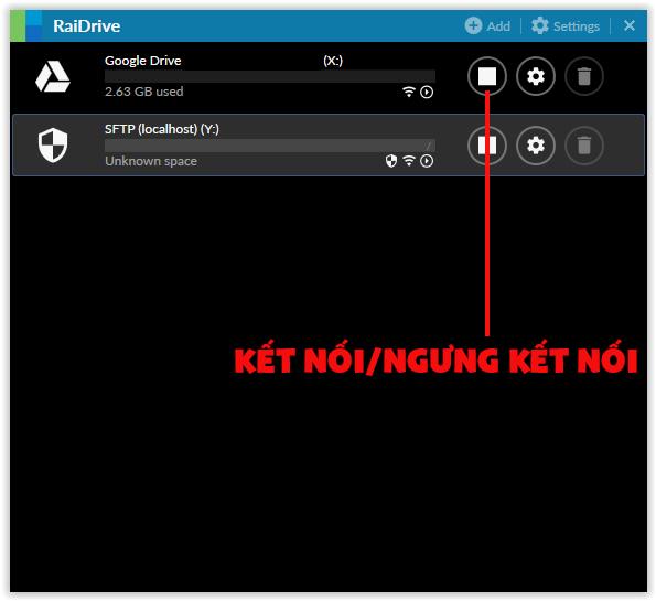 Kết nối và ngưng kết nối với RaiDrive