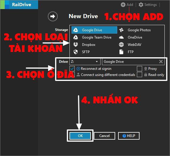 Hướng dẫn liên kết tài khoản với RaiDrive 1