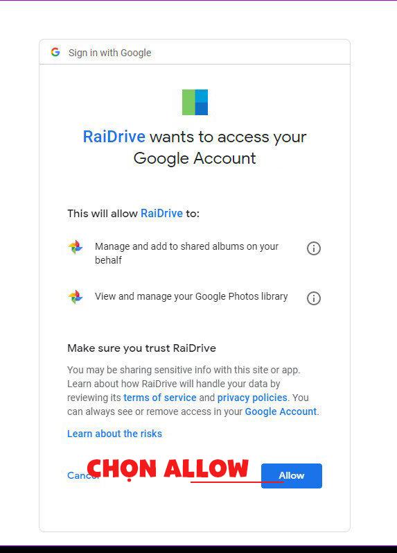 Liên kết tài khoản Google Drive