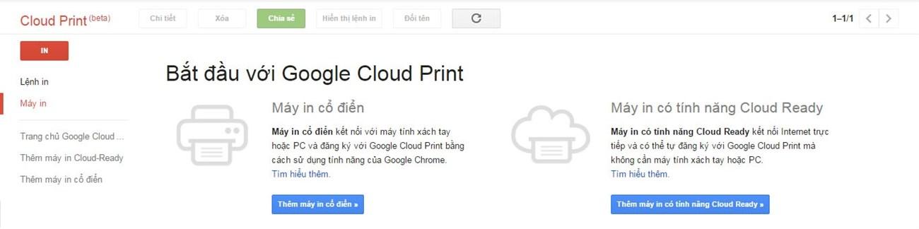 Truy cập Google Cloud Print