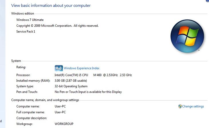 tổng quát thông tin về CPU, RAM và hệ điều hành được cài trong máy tính của bạn