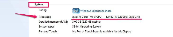 thông tin CPU Intel của máy laptop