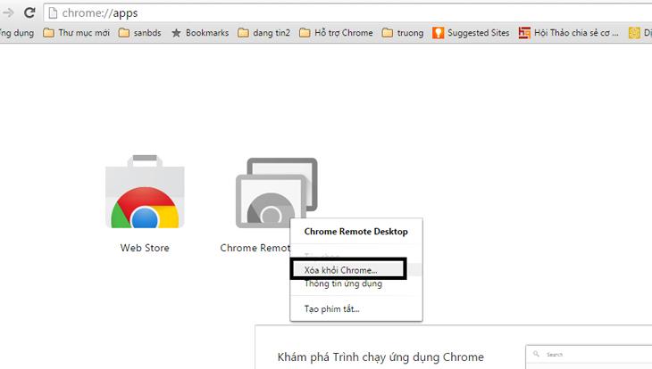 Loại bỏ các ứng dụng Web không cần thiết trên chrome