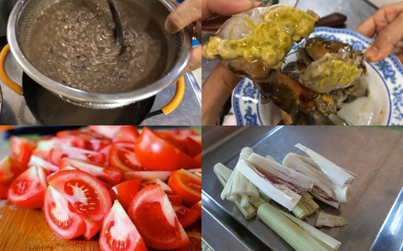 Sơ chế nguyên liệu nấu lẩu cua đồng miền Nam