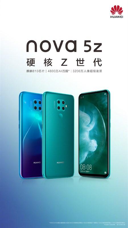 Huawei Nova 5z xuất hiện trong poster chính thức, hé lộ chip xử lý và 4 camera