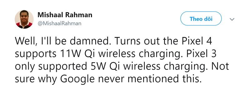 Google Pixel 4 hỗ trợ sạc nhanh cho mọi bộ sạc không dây chuẩn Qi, công suất lên đến 11W - ảnh 3