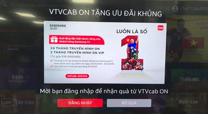 """Bạn mở ứng dụng VTVcab ON và chọn nút """"Đăng nhập""""/""""Login""""."""