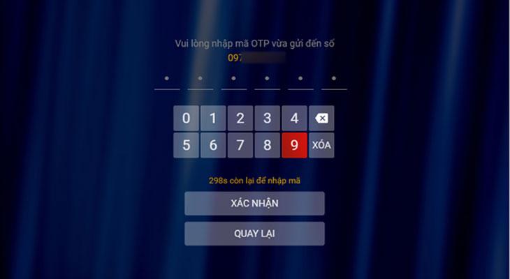 Bạn nhập mã xác nhận OTP được gửi về số điện thoại