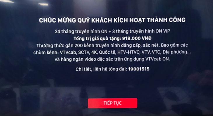 Tivi hiển thị thông báo kích hoạt gói  VTVcab ON thành công