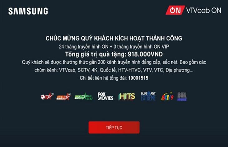 Cách kích hoạt gói khuyến mãi VTVcab ON trên tivi Samsung