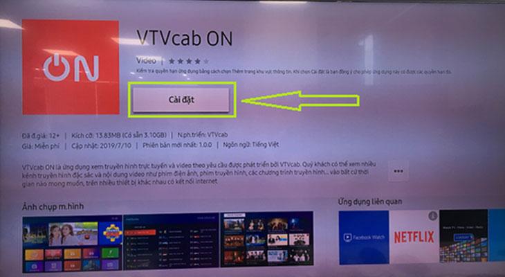 Cài đặt ứng dụng VTVcab ON trên tivi Samsung