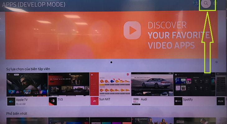 Cách kích hoạt gói khuyến mãi FPT Play trên tivi Samsung - bấm nút biểu tượng kính lúp