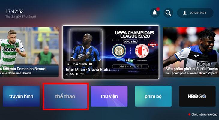 Ngay tại màn hình ứng dụng FPT Play, bạn chọn mục