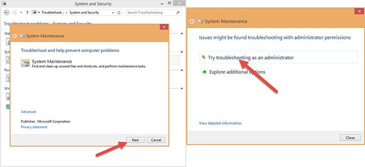 nhấn vào mục Try troubleshooting as an administrator.