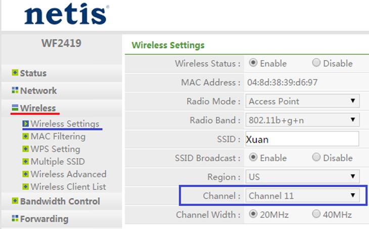 vào Wireless > Wireless Settings > Thay đổi ở phần Channel (nên sử dụng kênh 1, 6 hoặc 11)