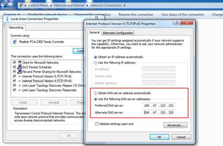 Nhấn OK để hoàn tất việc chọn địa chỉ máy chủ DNS nhằm tăng tốc Internet.