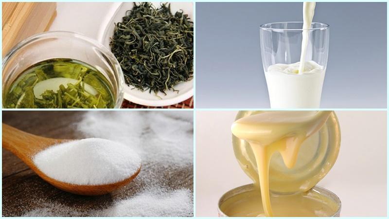 Nguyên liệu làm món trà sữa thái xanh
