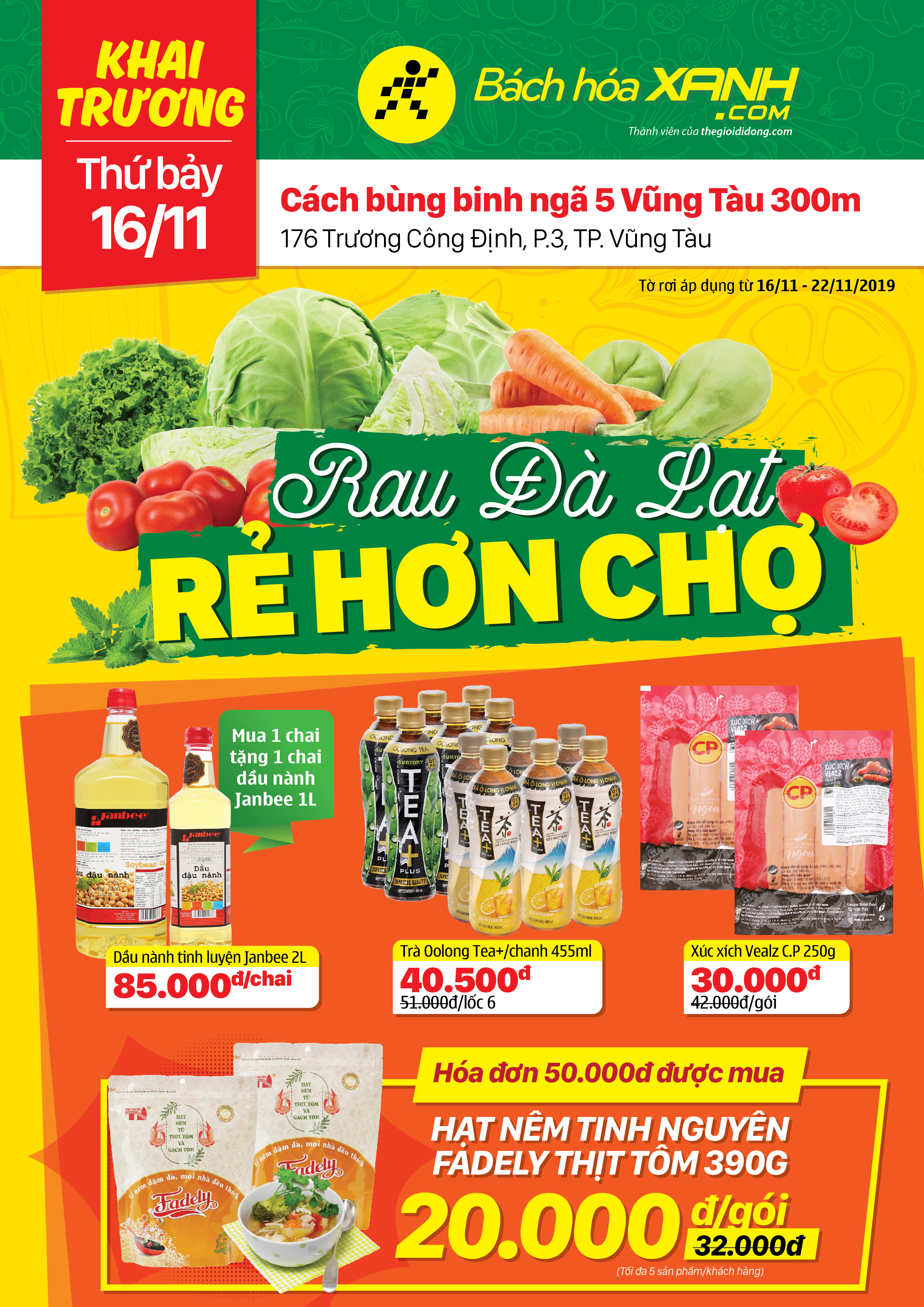 Cửa hàng Bách hoá XANH 176 Trương Công Định khai trương 16/11/2019