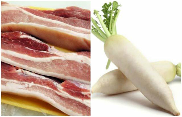 nguyên liệu chân giò kho củ cải